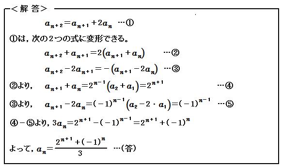 例題70 数列 3項間漸化式 解答