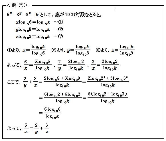 例題63 対数関数 等式の証明 解答