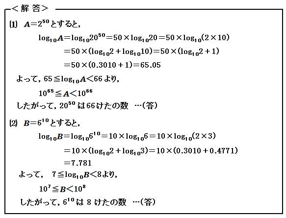 例題65 対数関数 けた数を求める 解答