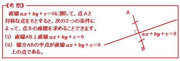 図形と方程式 直線に関して対称な点 考察