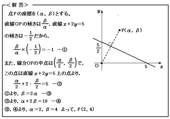 例題51 図形と方程式 直線に関して対称な点 解答