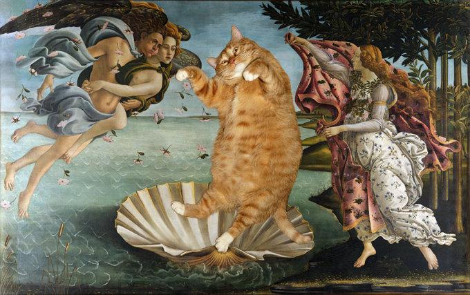 もしも太っちょ猫が「モナ・リザ」の膝の上に乗ったら・・・