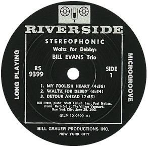 Bill Evans Waltz For Debby Riverside RS 9399