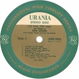 Tina Louise Its Time For Tina Urania Label