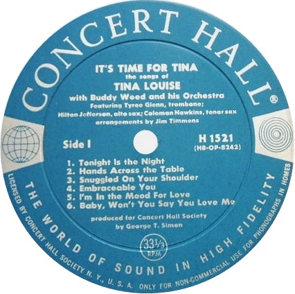 Tina Louise Its Time For Tina Concert Hall Label