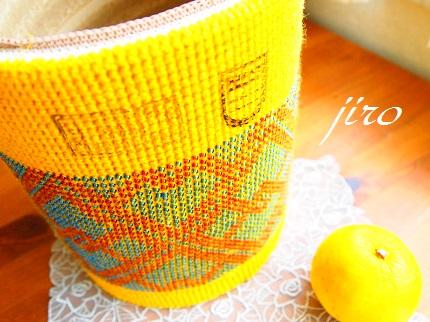 ビーズ編みゴミ箱カバー-イエローケーキ