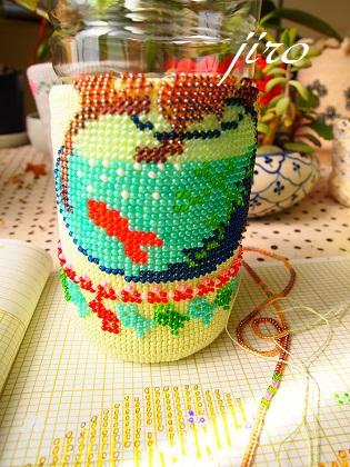 ビーズ編みがま口-summer rose 12