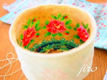 ビーズ編みがま口-summer rose 2014.6