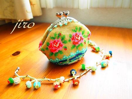 ビーズ編みがま口-summer rose2014.8