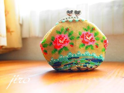 ビーズ編みがま口-summer rose2014.3