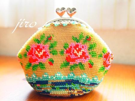 ビーズ編みがま口-summer rose2014