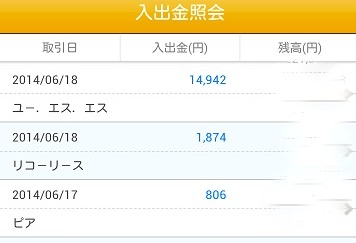 201406ユー・エス・エス配当振込