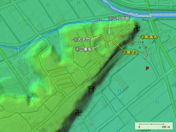 小山城_地形図
