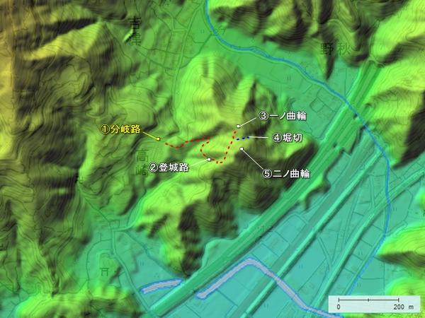 花沢城_地形図