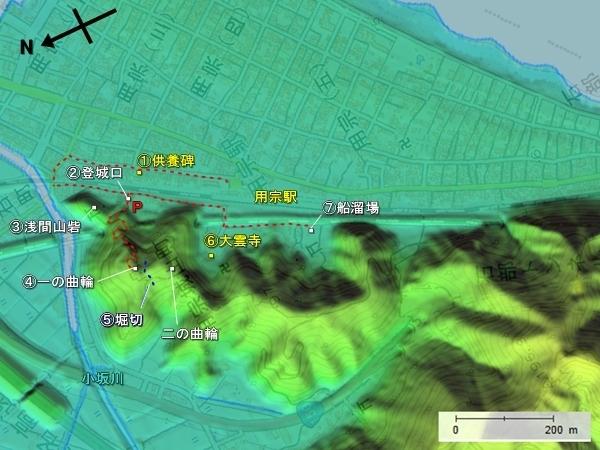 持舟城_地形図