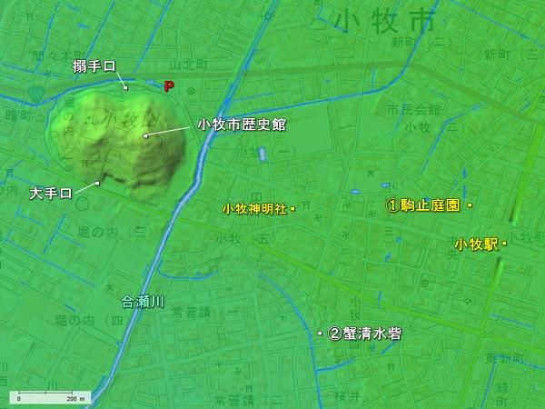 小牧山城地形図