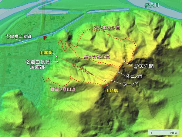岐阜城地形図