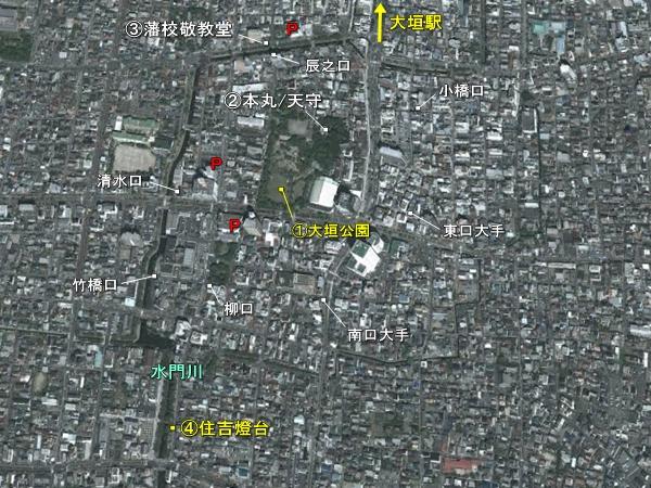 大垣城地形図
