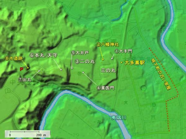 大多喜城地形図