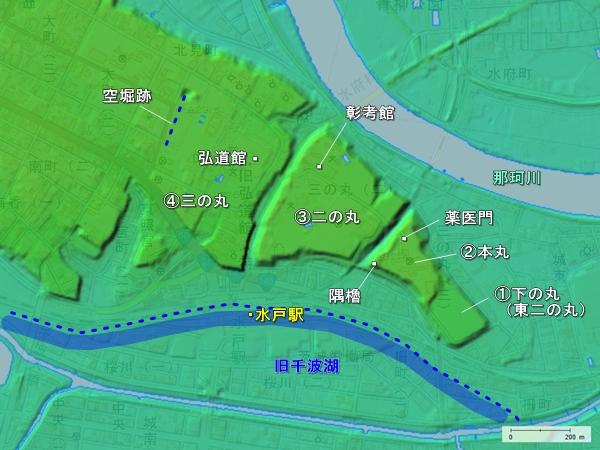 水戸城_地形図