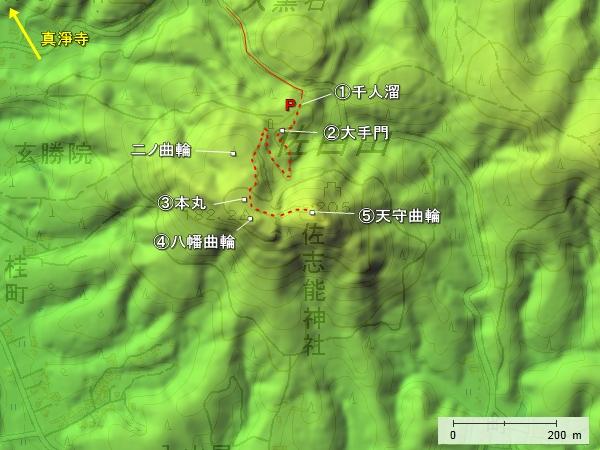 笠間城_地形図