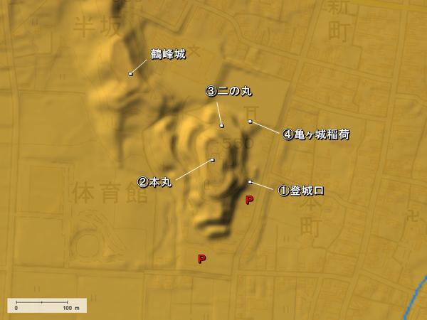 猪苗代城_地形図