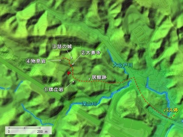 衣笠城地形図