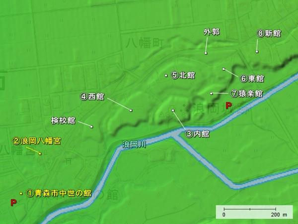 浪岡城地形図