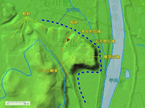 大仏ヶ鼻城地形図