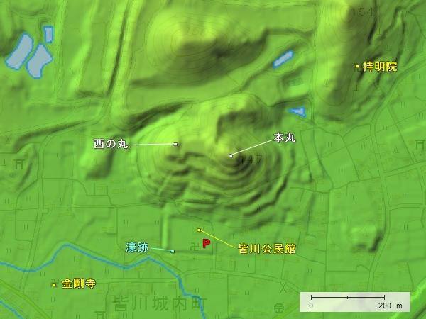 皆川城地形図