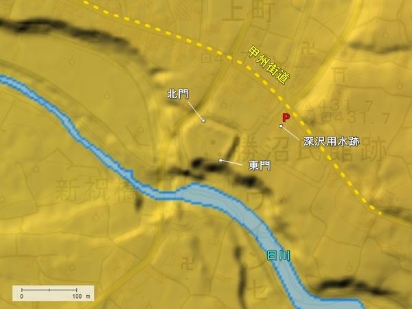 勝沼氏館地形図