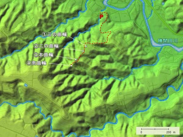 勝間田城地形図