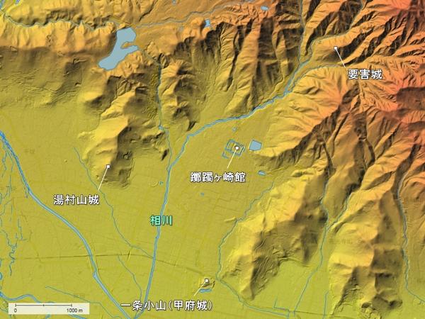 躑躅ヶ崎館周辺地形図
