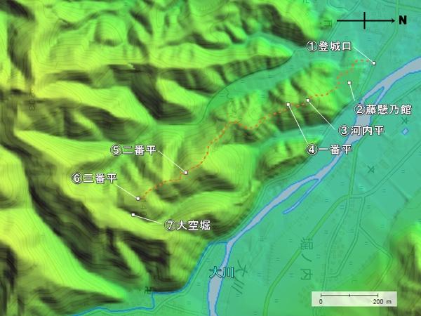 大川城地形図