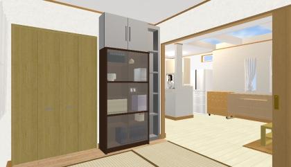 和室から本棚と棚と上棚