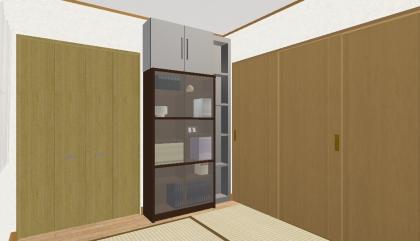 和室から本棚と棚と上棚_扉close