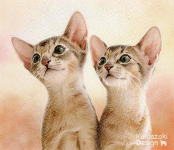 ペット肖像画 ペットの絵 ペット画 似顔絵 イラスト 猫 ネコ ねこ 小ネコ 子猫 色えんぴつ画 色鉛筆画