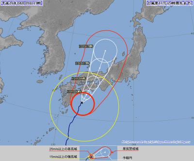 明日の台風進路図