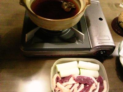 ひとり鴨鍋の準備