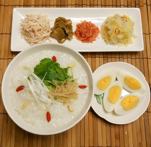 中華がゆ白菜の甘酢漬け塩たまご7