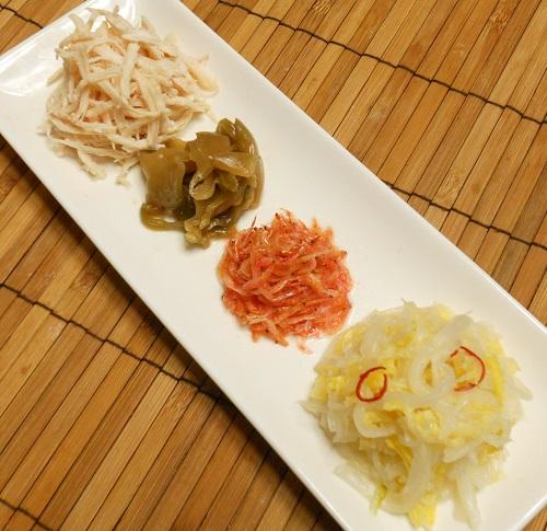 中華がゆ白菜の甘酢漬け塩たまご9