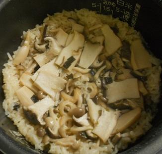 ニジマスのホイル焼ききのこご飯4