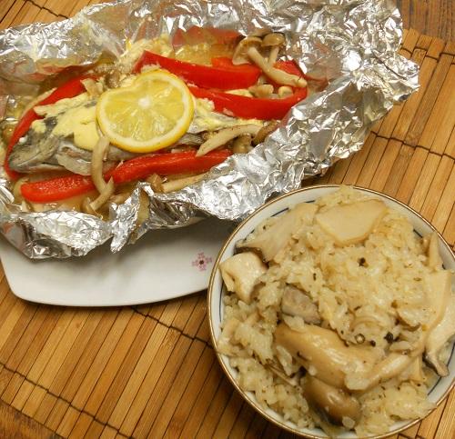 ニジマスのホイル焼ききのこご飯15