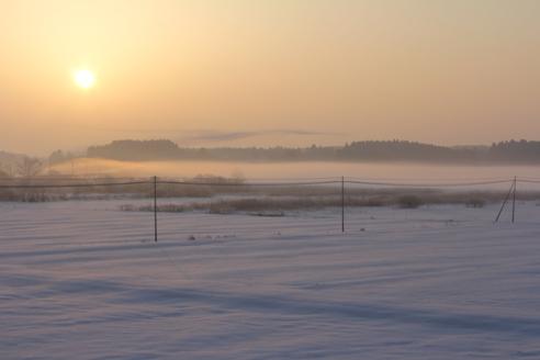 朝日と白い田園