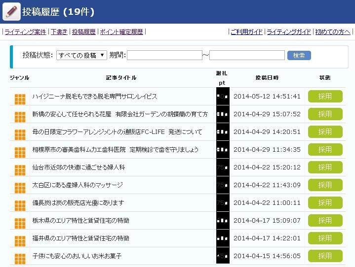 infoQライティング履歴