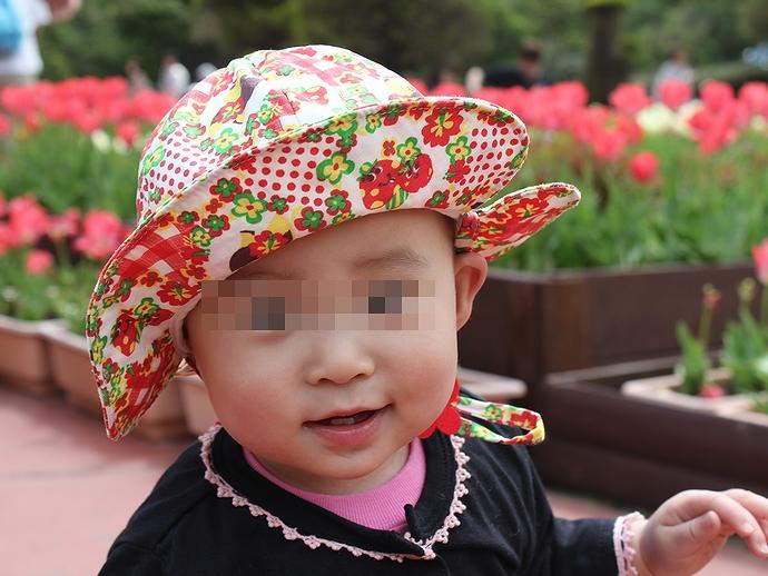 富士サファリパークのチューリップ花壇にて