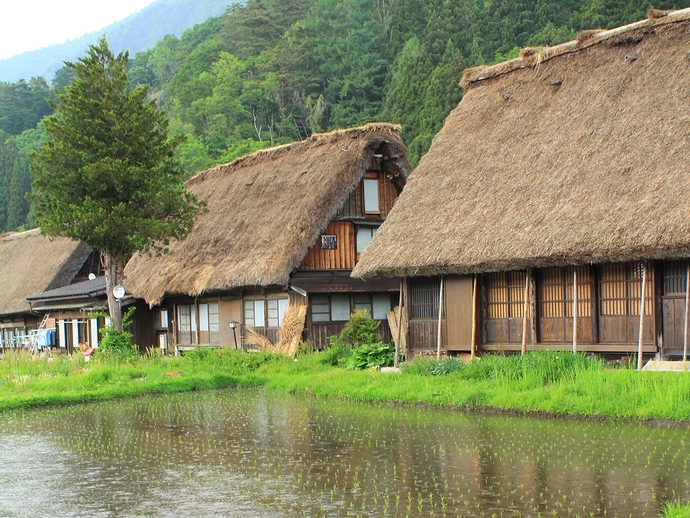 雨降る合掌造り集落(白川郷荻町)