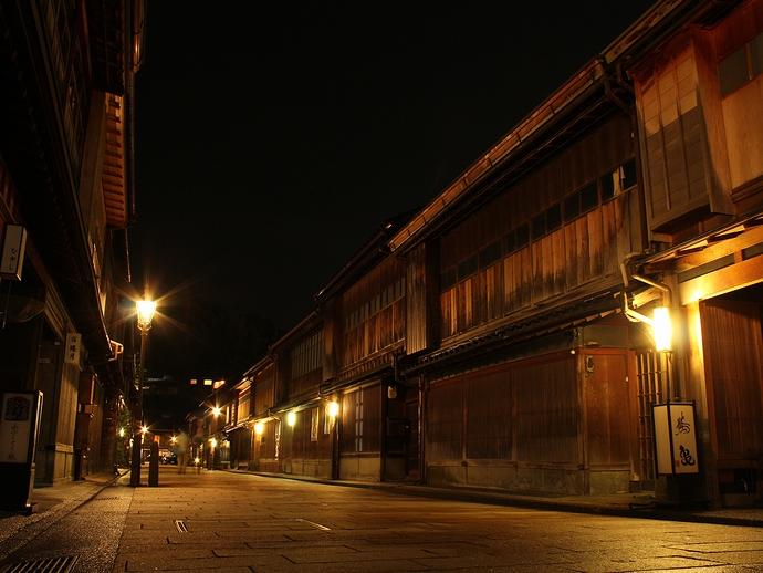 金沢市ひがし茶屋街の夜景