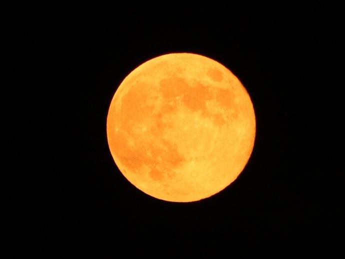 花火前 夏の満月昇る