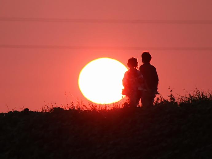 お祭りの前 美しい夕日(川北町にて)